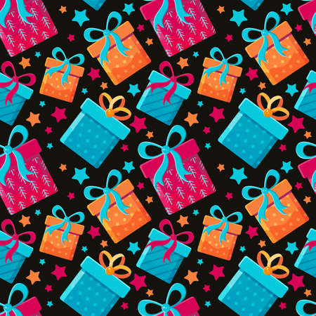 Seamless pattern different gift boxes in flat vector. Collection for Christmas, birthday and holidays. Christmas and new year background. Present box with bow. Cartoon . Colorful illustration