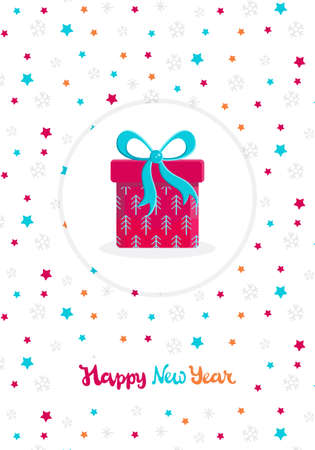 Christmas and new year card in flat vector. Beautiful present box with overwhelming bow on white background. Gift icon. Gift symbol. Christmas gift box. Background with snowflakes and stars.