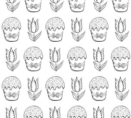 Seamless pattern Easter in vector. Happy Easter decoration symbols: Easter cake and flowers. Happy Easter symbols drawn by black art line. Spring background. Doodle