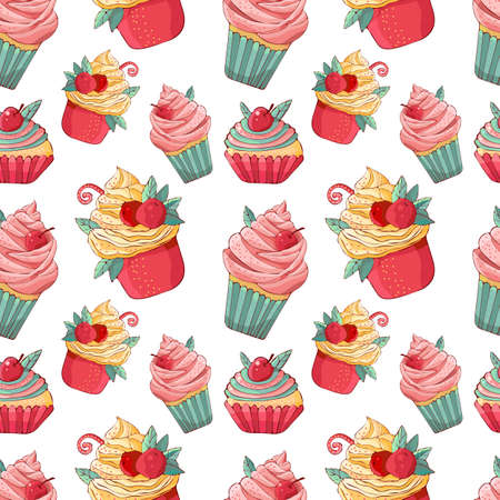 Seamless pattern cartoon cakes in vector. Hand drawn dessert in vintage style. Cap cake with cream and cherry. Sweet food isolated on white background. Color illustration. Design for the menu. Cooking