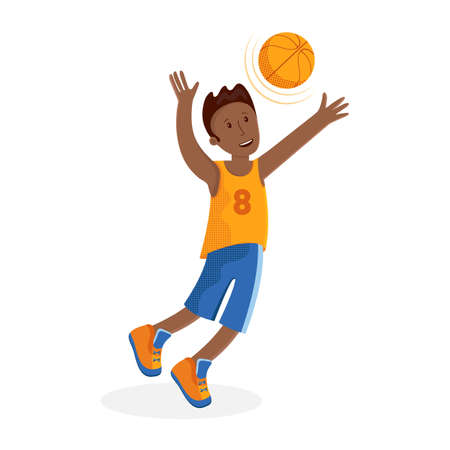 Boy basketball player with the ball. Small child plays basketball. Colorful cartoon illustration in flat vector. Childrens sport. Sports team games. Healthy Lifestyle. Child throws the ball.
