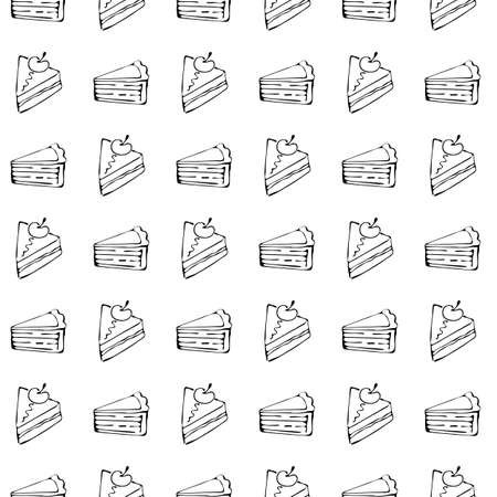 Seamless pattern of sweet desserts in vector. Piece of cake. Hand drawn seamless monochrome pattern with Doodle elements on the theme of sweet pastries. For decoration, Wallpaper, wrapper, cover. Ilustracja