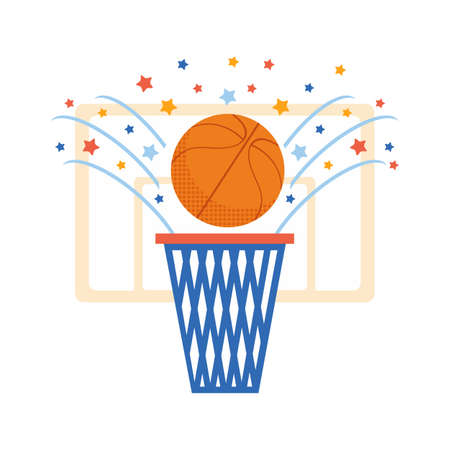 Basketball ball and basketball ring on white background. Hitting the ball in the basket. Sports childrens illustration in flat vector. Colorful cartoon style. Victory.