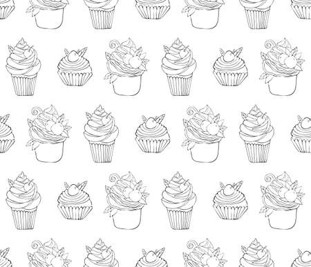 Seamless pattern of dessert in vector. Background of cake hand drawn. Illustration of sweet pastries for Valentines day, birthday. Black line art on a white background. Sweet food. Sketch. Ilustracja
