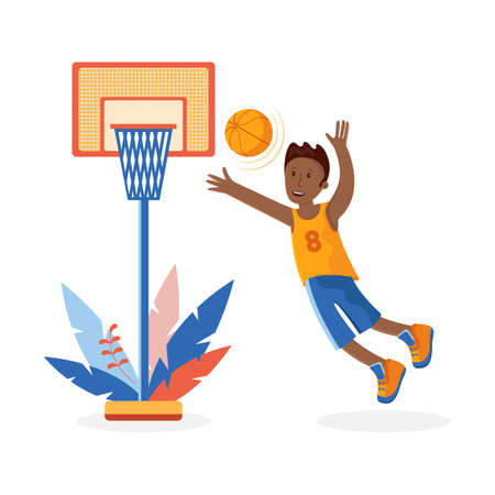 A boy throws a basketball ball into a basketball basket. A small child playing with a ball. Colorful cartoon illustration in flat vector. Children's sport. Sports team games. Healthy lifestyle. Ilustracja