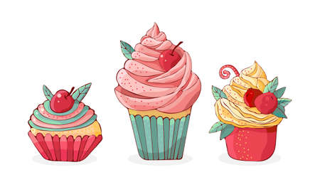 Set cartoon cakes in vector. Hand drawn dessert in vintage style. Cap cake with cream and cherry. Sweet food isolated on white background. Color illustration. Design for the menu.