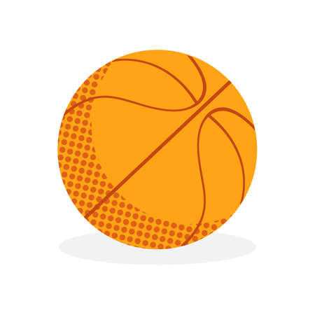 Basketball orange ball in vector. Sports flat icon. Isolated object on white background. The symbol of basketball.