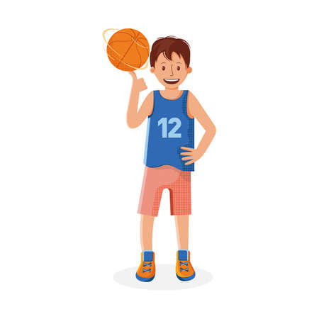Boy basketball player with the ball. Small child plays basketball. Colorful cartoon illustration in flat vector. Children's sport. Sports team games. Healthy Lifestyle. Child throws the ball.