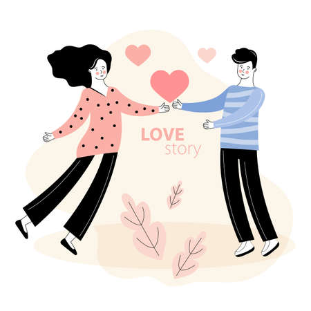 A man gives heart to a woman. Romantic date. Love story, relationship. Design concept for Valentines Day and other users. Hand drawn illustration for 14 February greeting card. Happy couples in love Illusztráció