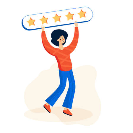 Customer feedback, client review. Social media networks, online service evaluation. Rank and rating scale, high-ranking, top-ranking concept. User cartoon characters.Vector creative illustration. Illusztráció
