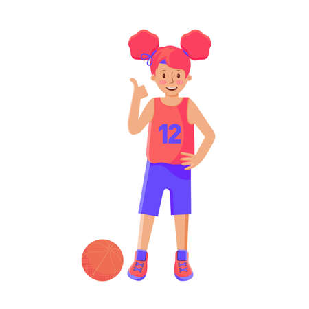 Girl basketball player with the ball. Child plays basketball. Colorful cartoon illustration in flat vector. Children s sport. Sports team games. Healthy Lifestyle. Games with the ball. Girl athlete.