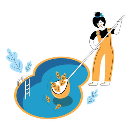 Swimming pool service worker with net cleaning water. Outdoor cleaning, swimming pool service, cleaning company concept. Woman removes leaves from the surface of the water. Vector illustration.