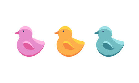 Set of rubber duck bath toy in flat style isolated on white background. Vector illustration. Cute baby bathing toy. Icon of children s toys in pink, yellow and blue.