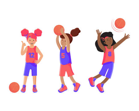 Set of girls basketball player with the ball. Child plays basketball. Colorful illustration in flat vector. Children s sport. Sports team games. Healthy Lifestyle. Games with the ball. Illustration