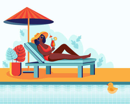 A young woman is relaxing in a sun lounger by the pool. Woman drinks cocktail. Summer vacation, pool party concept. Vector illustration. Summertime poster. Horizontal template with space for text. Spa Ilustracja