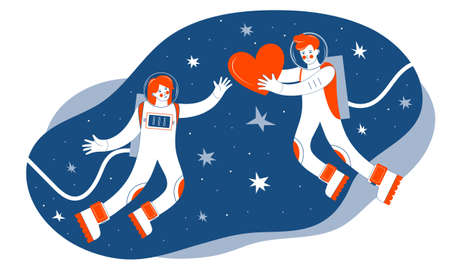 Two astronauts in outer space. A man gives a red heart to a woman among the stars.. Greeting card or banner for Valentine s day. The trending colors Lush Lava and Bluest Blues. Cosmic love. Cosmonaut