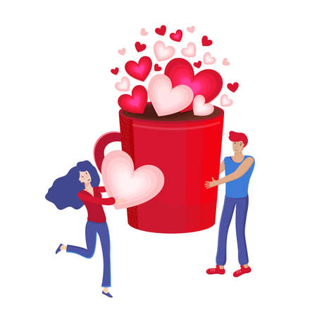 Happy Valentine s day. Young man and a woman make coffee together. Red mug with hot chocolate or cocoa with pink hearts. Woman holds a heart in her hands. Vector flat illustration. Romantic and love