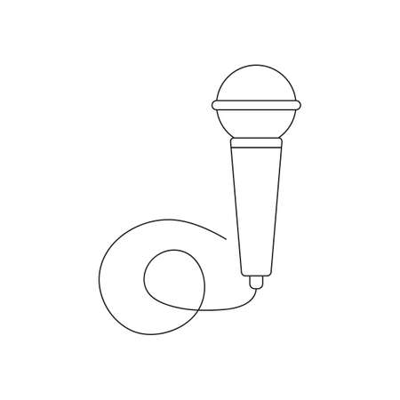 Continuous linear drawing of a vector wired dinamic microphone icon. Thin line web and mobile devices. Modern minimalistic linear design. Black art line. Outline logo of speaker Ilustração