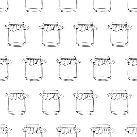 Seamless pattern glass jar drawn by art line. Black and white illustration of food storage utensils. Monochrome pattern in vector. Background of glassware for canning home products