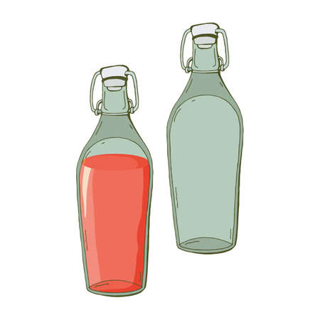 Set of empty glass bottle and with pink drink in vector. Fruit or berry juice. Homemade preparations of fruits and berries. Isolated object on a white background. Dishes for storage.