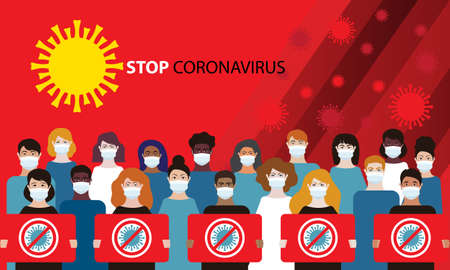 Coronavirus. Novel coronavirus 2019-nCoV in China. People in white medical face mask with a stop sign on red background. Virus quarantine. MERS-Cov. East respiratory syndrome. Vector flat illustration