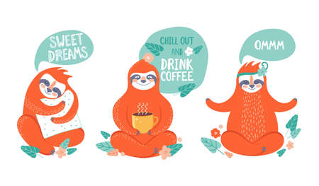 Collection of funny sloths in different postures. Lazy exotic animal meditates, does yoga, drinks coffee and sleeps on a pillow. Cute cartoon character doing daily things. Colorful vector illustration.
