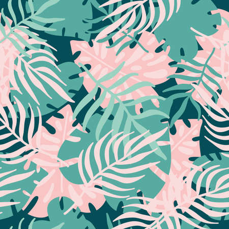 Abstract seamless pattern with tropical green and pink leaves. Tropical palm leaves, jungle leaf. Scandinavian style backdrop. Hand draw background of exotic plants. Botanical wrapping paper, textile. 矢量图像