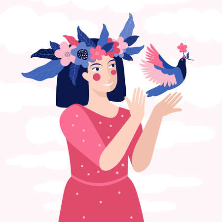 Spring greeting card or banner in vector. Beautiful woman in a wreath of flowers releases a bird into the sky. Symbol of spring, freedom and love. Girl in a pink dress. Illustration Happy women s day