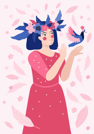 Spring greeting card or banner for happy women s day or March 8. Pretty woman in a wreath of flowers releases a bird into the sky. Symbol of spring and love. Cartoon girl smiles. Vector illustration 向量圖像