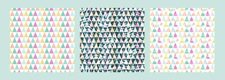 Set cute Scandinavian geometric seamless pattern with triangles and plant texture. Colorful abstract background. Decorating the surface of Wallpaper, textile, wrapping paper, packaging, fabric Фото со стока - 140891122