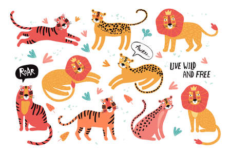 Set of wild cats, leopard, lion, tiger. Animals Taiwan. Flat vector illustration. Wild exotic animals. Cute animal character idea for printed material and t-shirt, greeting card, children s wall art