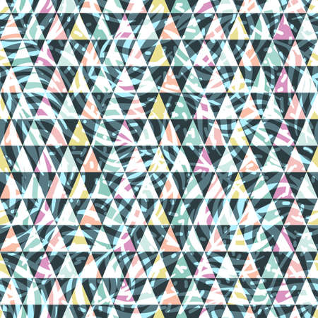 Cute Scandinavian geometric seamless pattern with triangles and plant texture. Colorful abstract background. Ideal for decorating the surface of Wallpaper, textiles, wrapping paper, fabric, packaging Иллюстрация