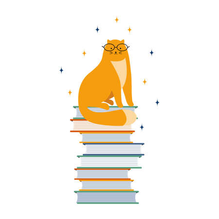 Smart kitten student reads a lot of books. Cute cartoon cat with glasses sitting on a stack of textbooks. Hand-drawn animal character. Literary fan. Vector flat illustration. Favorite pet learns