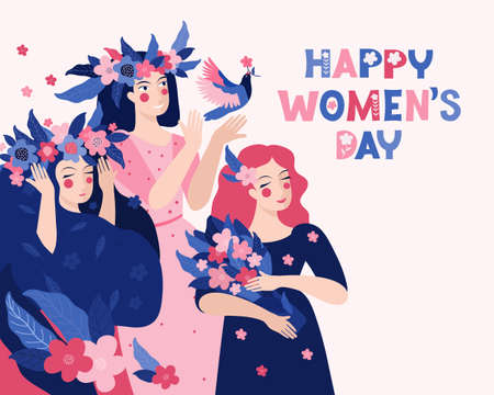 Horizontal template for a spring banner, card, poster. Beautiful women with a flower wreath and a bouquet. Happy women s day. Vector illustration with an inscription. Group of pretty girls in nature