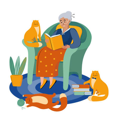 Literary fan. Grandmother with glasses is sitting in a big chair reading a book. Retired lover of literature. Elderly woman with cats. Cartoon character. Hand drawn scandinavian flat illustration