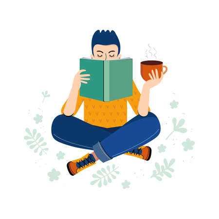 Literary fan. Teenage boy loving of literature reads a book and drinks tea or coffee. Young man with a book in his hand. Hand drawn cartoon character on a white background. Scandinavian illustration