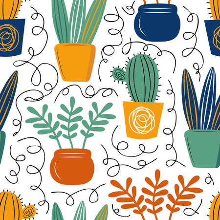 Seamless vector pattern with hand drawn home plants. Background of cacti, succulents and flowers. Scandinavian decorative textiles, Wallpaper, wrapping paper design idea