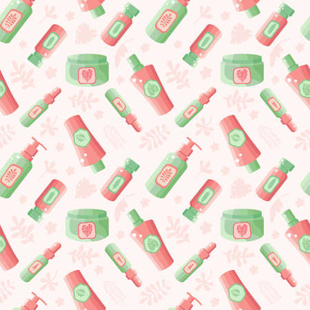 Seamless pattern of face and body cosmetics in vector. Cosmetics from plants and herbs. Background natural herbal organic cosmetic. Skin care. Spa eco product. Design for of beauty salons and stores