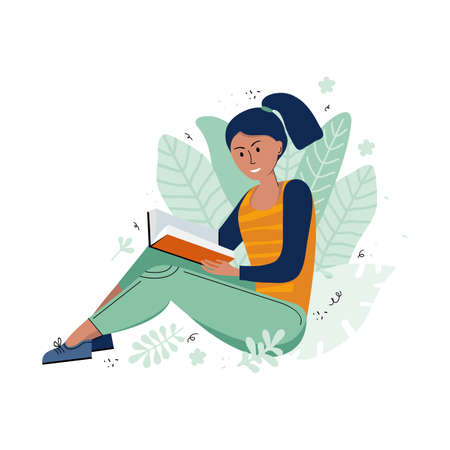 Literary fan. A teenage girl who loves literature reads a book in nature. Young woman with a book in her hand. Drawn cartoon character in a vector on a white background. Scandinavian flat illustration