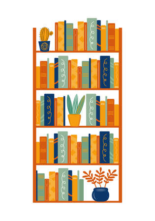 Bookcase with books and houseplants. Home library. Bookshelf with different books, cacti, succulents and flowers. Hand drawn vector illustration in Scandinavian style.