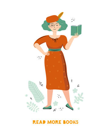 Literary fan. Smart woman who loves literature reads a book. Young stylish woman with a book in her hand. Drawn cartoon character in a vector on a white background. Scandinavian flat illustration
