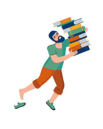 Literary fan. A man with a beard carries a large stack of books. The man lost his balance and falls. Cartoon character. Hand drawn illustration Vecteurs