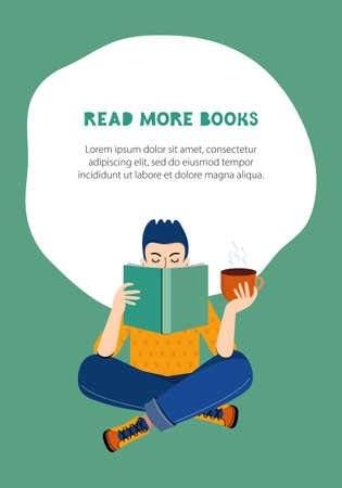 Literary fans. A smart boy reads a book and drinks coffee or tea. The concept of home learning and self-development.