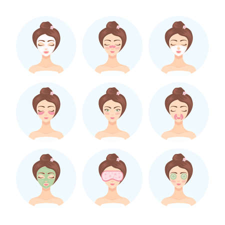 Set of cosmetic procedures for face and eye care. Woman takes care of her face with the help of collagen patches and masks, natural cosmetics.