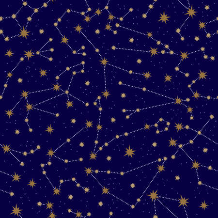 Zodiac constellation seamless pattern. Golden constellations and stars on a dark background. Horoscope signs in the starry sky. The space of the galaxy. For print design, textile, packaging paper.