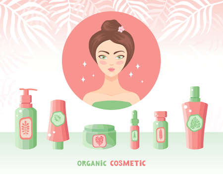 Beautiful woman takes care of her face with natural herbal organic cosmetics. Different skin and hair care products. Cosmetic products from plants and herbs. Cream, serum, oil. Horizontal banner. Illusztráció