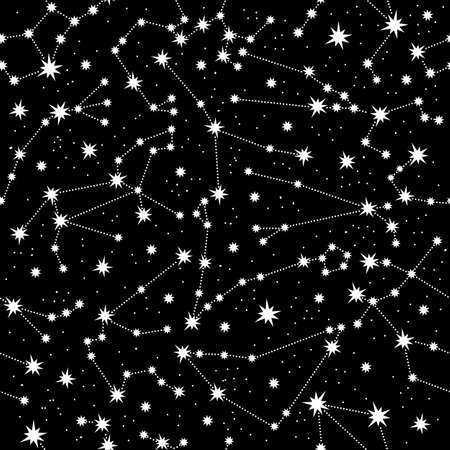 Zodiac constellation seamless pattern. White constellations and stars on a black background. Horoscope signs in the starry sky. The space of the galaxy. For printing design, textiles, packaging paper.