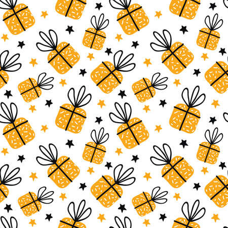 Birthday gift boxes flat vector seamless pattern in scandinavian style. Yellow Presents and gifts festive wrapping paper. Celebration greeting card backdrop. Textile, wallpaper, wrapping paper. Иллюстрация