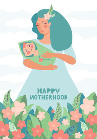 Young mother holds a baby in her arms against a background of flowers and sky. Happy motherhood hand-drawn typography. Happy little baby with mom. Happy Mother s Day greeting card. Vector illustration  イラスト・ベクター素材