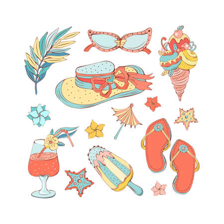 Hand drawn set of summer icons in vintage style. Isolated vector objects on a white background. Straw hat, palm leaves, sunglasses, ice cream, slates, cocktail, starfish, tropical flowers.